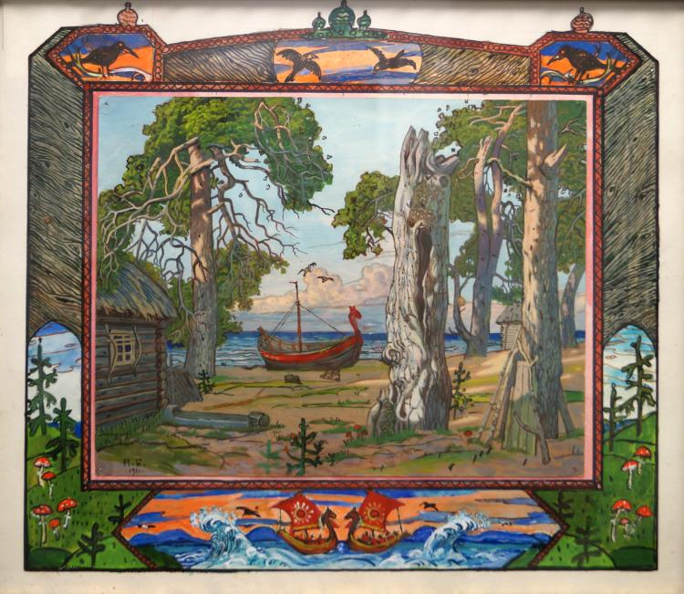 RUSSIAN SCHOOL (20TH CENTURY), GOUACHE, LANDSCAPE WITH LONGBOAT, SIGNED (IN CYRILLIC) 1911. SIGHT 13 X 14 3/4