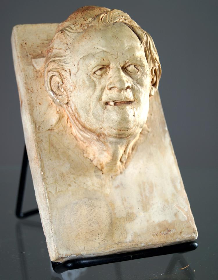 WILLIAM MCMAHON (ACTIVE NYC 1960'S), CAST HYDROSTONE BAS RELIEF PLAQUE OF AN OLD MAN. 6 1/2 X 3 3/4