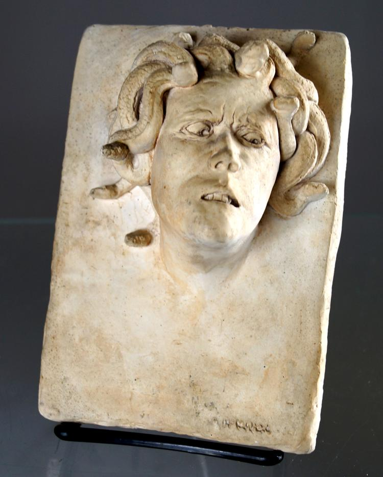 WILLIAM MCMAHON (ACTIVE NYC 1960'S), CAST HYDROSTONE BAS RELIEF PLAQUE OF MEDUSA. 6 1/2 X 4 1/2