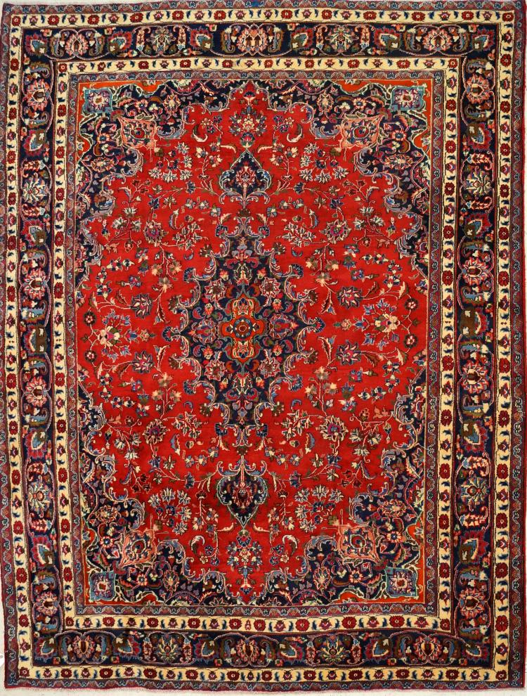 SEMI-ANTIQUE PERSIAN MASHAD CARPET. 8'1