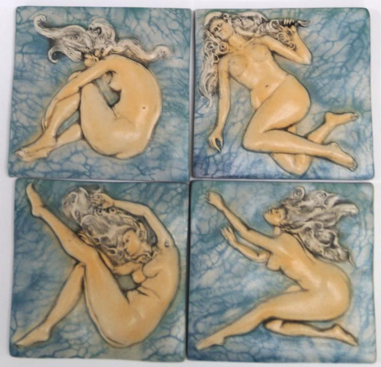 LOT (4) SURVING STUDIO'S HIGH RELIEF CERAMIC TILES, NUDES, VOLARA, MARLA, SARA AND MARSHA (ON SEA FAN). 6 X 6