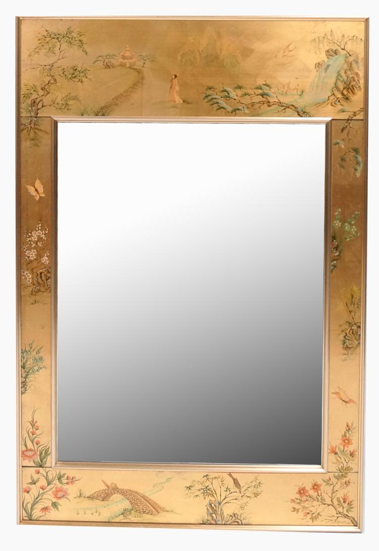 LA BARGE CHINOISERIE REVERSE DECORATED FRAMED BEVELED MIRROR, SIGNED S. KUSZPIT, LABELED 1988. 42 X 28 1/2