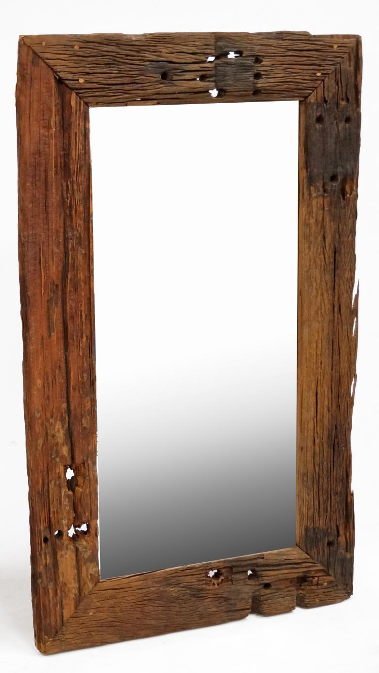 CUSTOM MADE DISTRESSED/RECLAIMED WOOD FRAMED MIRROR. 60 X 36