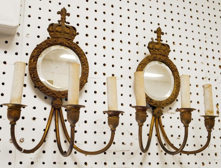 PAIR REGENCY STYLE GILT BRASS 3-ARM/MIRRORED SCONCES. HEIGHT 14 1/2