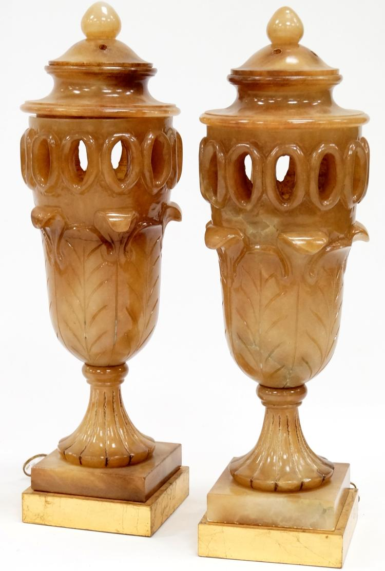 PAIR URN-FORM CARVED ALABASTER LAMPS. HEIGHT 28