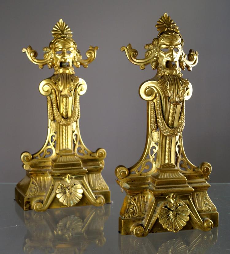 PAIR FRENCH GILT BRONZE ANDIRON FRONTS, 19TH CENTURY. HEIGHT 17