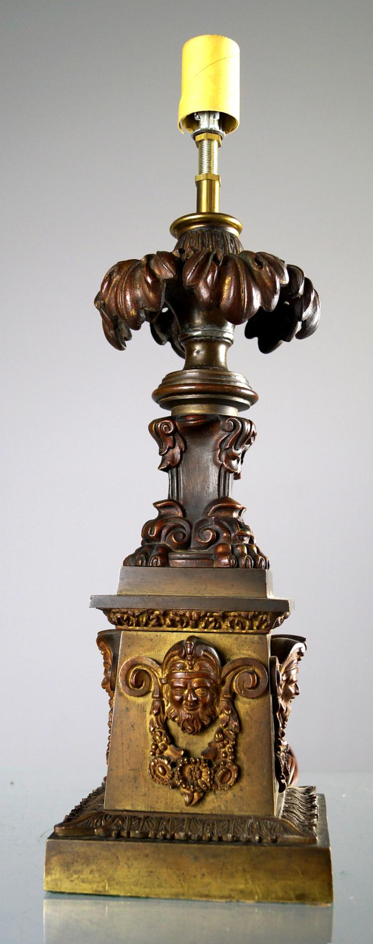 CLASSICAL STYLE BRONZE LAMP BASE. HEIGHT 12