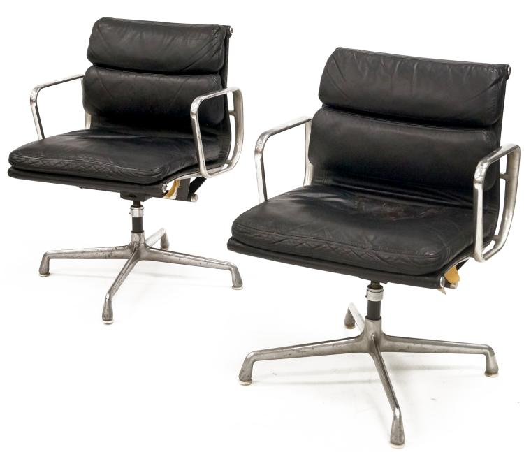 PAIR HERMAN MILLER BLACK LEATHER SWIVEL ARMCHAIRS