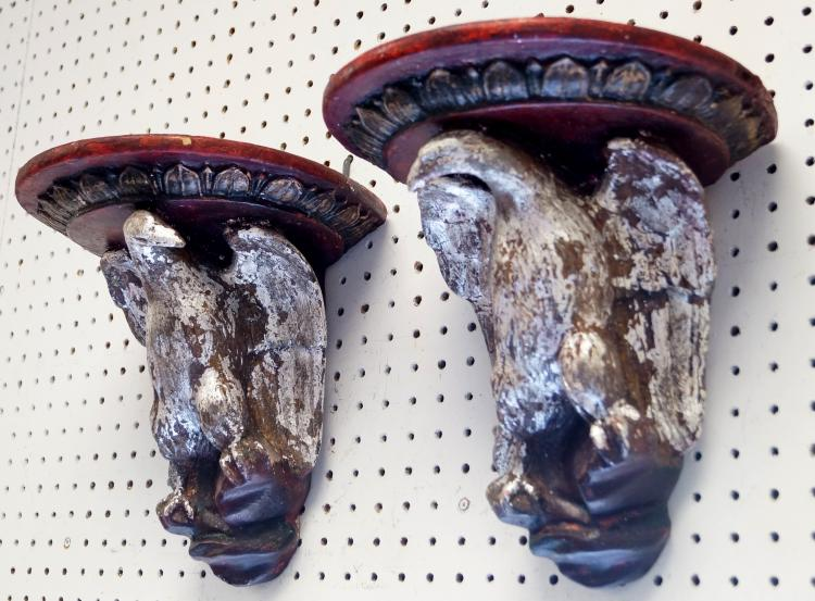 PAIR CARVED, SILVER AND GILT PAINTED AMERICAN EAGLE WALL BRACKETS. HEIGHT 11 1/2