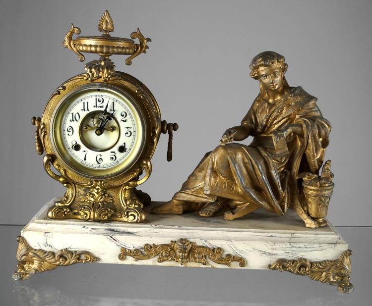 VINTAGE NEW HAVEN FIGURAL MANTLE CLOCK,