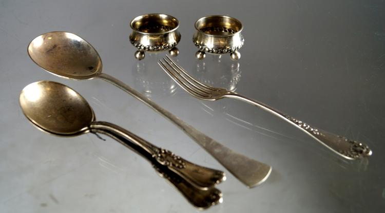 LOT ASSORTED SILVER INCLUDING (2) SALTS; .800 AUSTRIA HUNGRY SERVING SPOON; 950 FRENCH FORK; (2) GORHAM STERLING CREAM SOUP