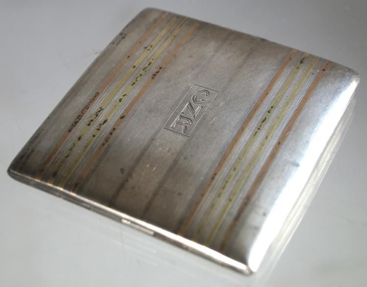VINTAGE STERLING AND 14K INLAID CIGARETTE CASE, MONOGRAMMED. 3 X 3