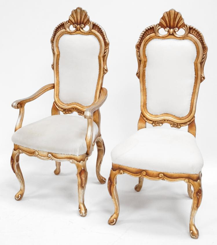 SET (6) CARVED DINING CHAIRS WITH GILT POLYCHROME FINISH INCLUDING (2) ARM AND (4) SIDE