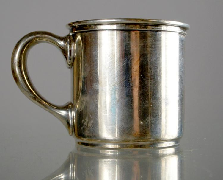 GORHAM STERLING GILT LINED BABY'S CUP, #7956. HEIGHT 2 5/8