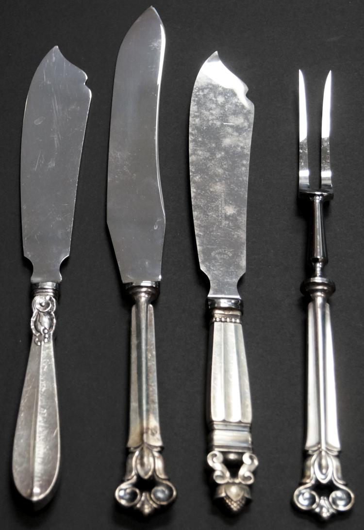 LOT (4) STERLING SERVING KNIVES AND FORK INCLUDING (2) COHR, (1) FRIGAST AND (1) GEORG JENSEN. LENGTH 10-12
