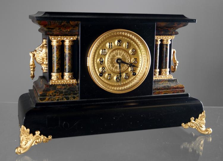 VINTAGE EBONIZED AND ADAMANTINE COLUMN MUSICA MANTLE CLOCK, C.1900. HEIGHT 11 1/2