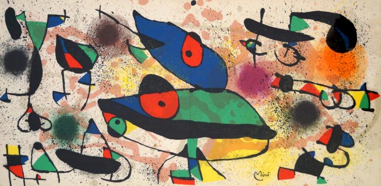 JOAN MIRO (SPANISH 1893-1983), COLOR LITHOGRAPH FROM VERVE MAGAZINE (VERTICAL CENTERFOLD AS ISSUED), SIGNED (IN PLATE) C.1978. SHEET 11 X 22