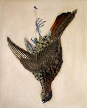 VICTORIAN FEATHER PARTRIDGE NATURE MORTE. FRAMED AND GLAZED-24 1/2 X 20 1/2
