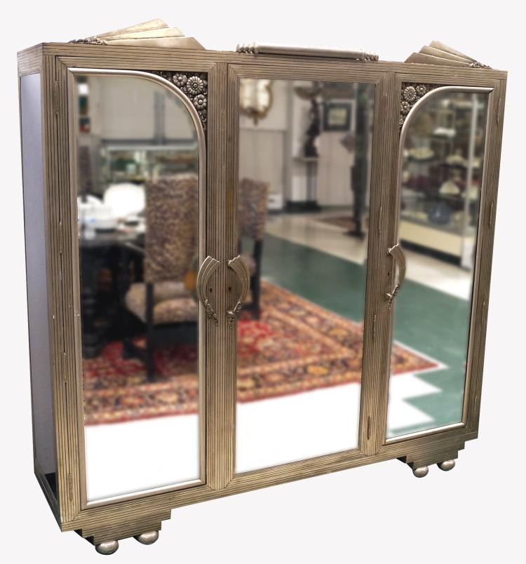 ART DECO NICKEL STEEL AND MIRRORED ARMOIRE, C.1920. HEIGHT 75