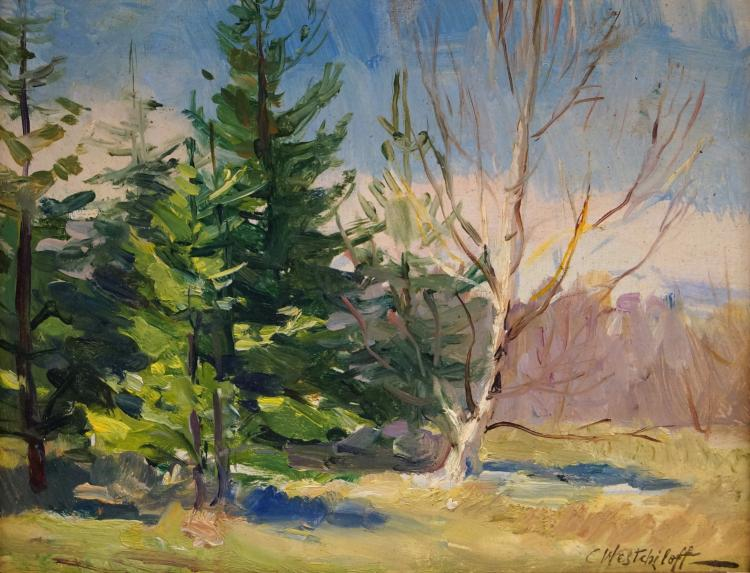 CONSTANTIN WESTCHILOFF (RUSSIAN/AMERICAN 1877-1945), OIL ON CARDBOARD, LANDSCAPE WITH BIRCH TREES, SIGNED. 7 X 9