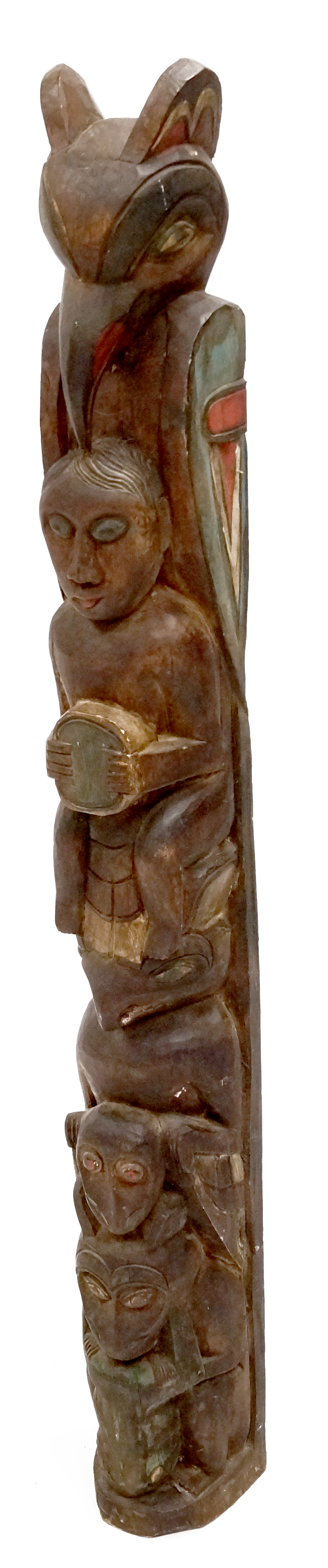 NORTHWEST COAST STYLE CARVED AND PAINTED WOOD TOTEM. HEIGHT 44