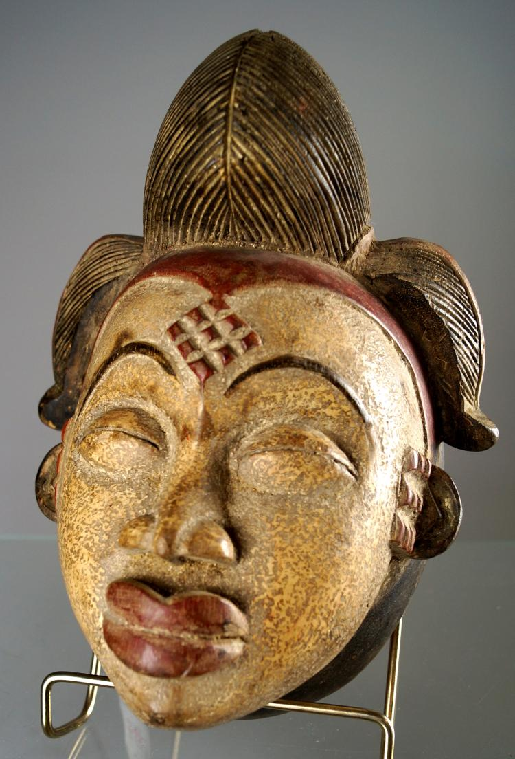 VINTAGE PUNU, GABON, CARVED AND PAINTED MASK. HEIGHT 11