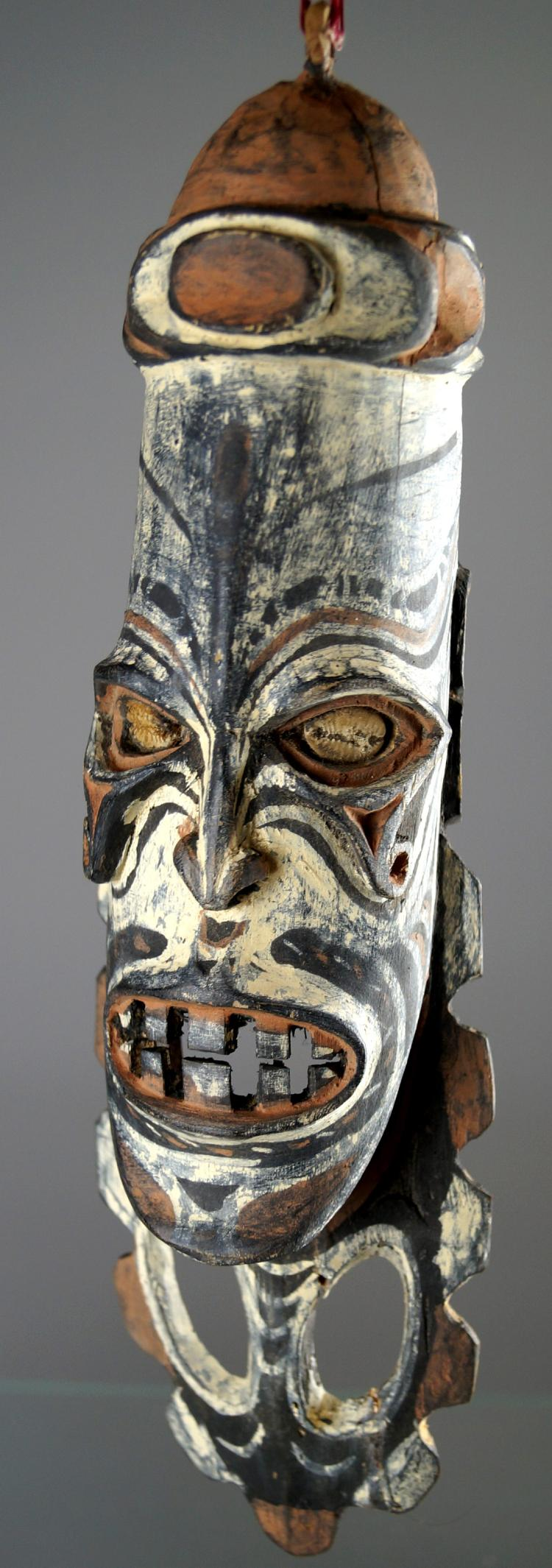 SEPIK RIVER FIGURAL STAFF MOUNT. HEIGHT 13