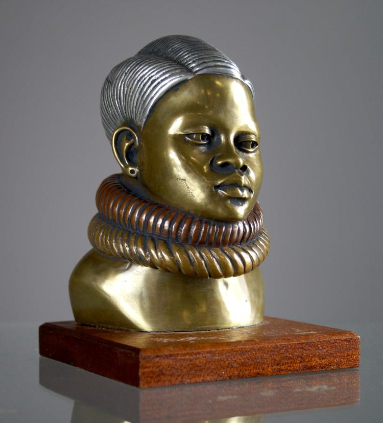 AFTER CHARLES CORDIER (FRENCH 1827-1905), BRONZE/ALLOYS, BUST OF KLIRA NIMEIRY, RECAST OF 1850 SUDANESE MODEL. HEIGHT 5
