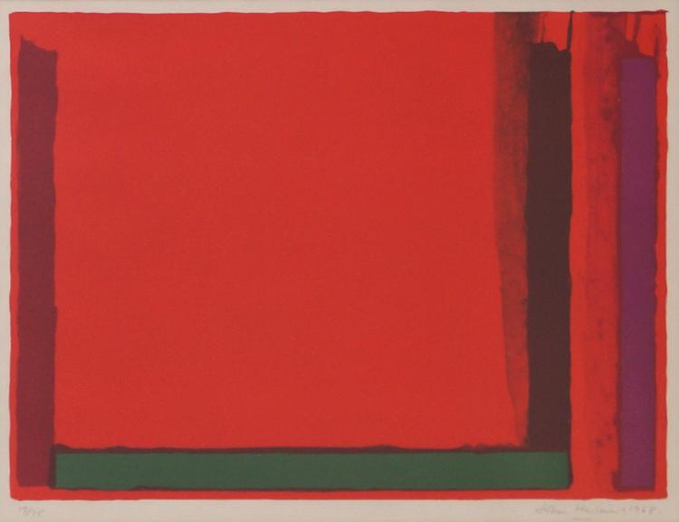 JOHN HOYLAND (BRITISH 1934-2011), LITHOGRAPH, UNTITLED ABSTRACT, SIGNED #17/25, 1968. SIGHT 19 X 28