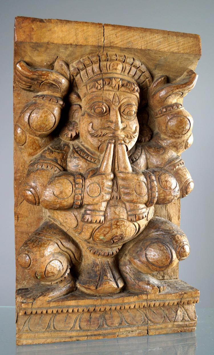 INDIAN SCHOOL (19TH CENTURY), CARVED TEAK RELIEF. HEIGHT 15