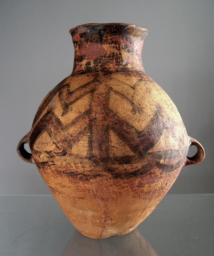 CHINESE NEOLITHIC AND BAN CH'ING DECORATED POTTERY JAR. HEIGHT 11 5/8