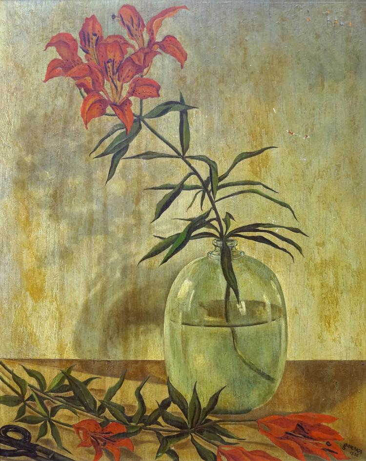 POLISH SCHOOL (20TH CENTURY), OIL ON BOARD, STILL LIFE WITH TIGER LILLIES, SIGNED GORSKA, 1935. 19 1/2 X 15 1/2