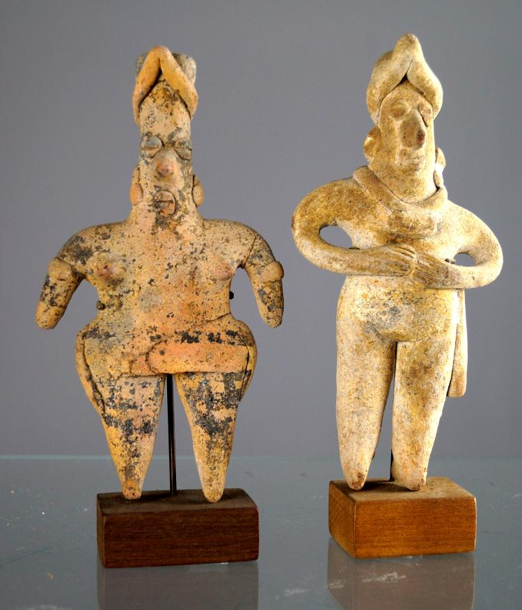 LOT (2) CENTRAL WEST COAST MEXICAN POTTERY FIGURES, CLASSICAL PERIOD. HEIGHT 6 1/8
