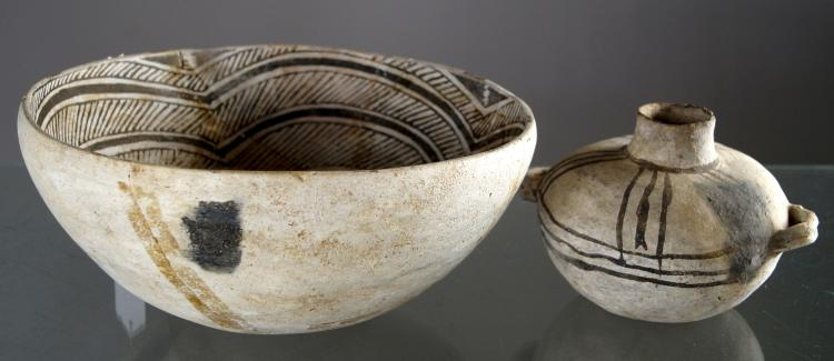LOT (2) ANASAZI BLACK ON WHITE POTTERY, C.1100-1250AD INCLUDING BOWL, DIAMETER 10 3/8
