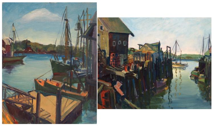 HARRIETTE M. LANDON (AMERICAN 1896-1977), LOT (2) OIL ON ARTIST BOARD, ROCKPORT HARBOR AND VILLAGE SCENE, 2/SIGNED VERSO. 20 X 16
