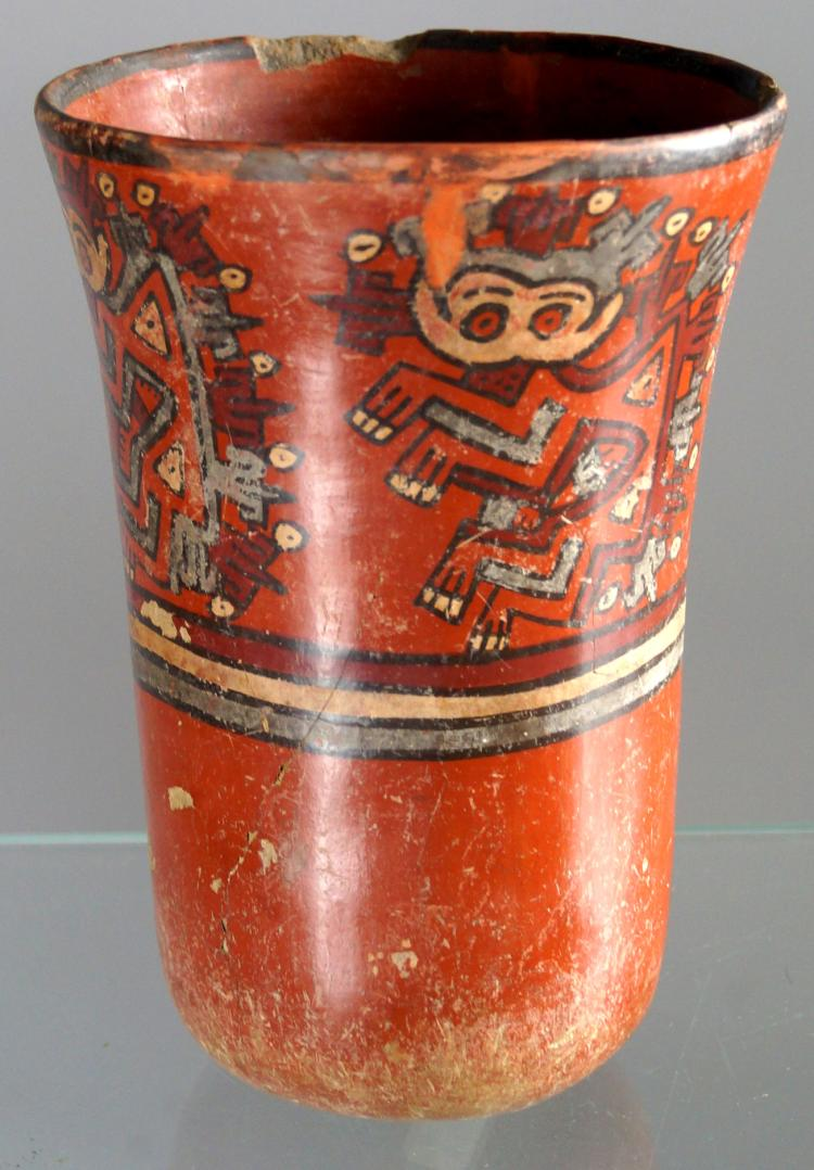 PRE-COLUMBIAN, NAZCA CULTURE, PERU, POLYCHROME POTTERY DRINKING VESSEL, C.100-400AD. HEIGHT 7 1/4
