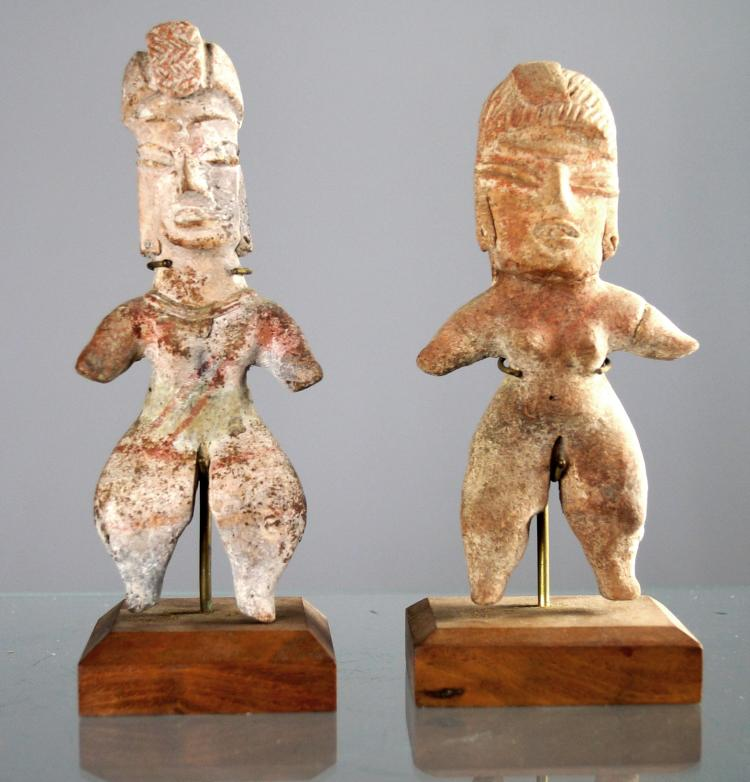 LOT (2) CENTRAL WEST COAST MEXICAN POTTERY FIGURES, CLASSICAL PERIOD. HEIGHT 5 3/4