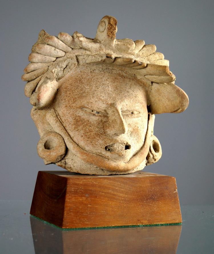 TOTONAC (VERACRUZ) TERRA COTTA FIGURAL HEAD, CLASSIC PERIOD 725-1492 AD. HEIGHT 5 1/2