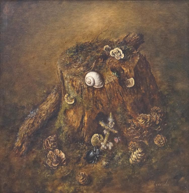 HENDRIK JAN HANS WIJK (DUTCH 1901-1990) OIL ON BOARD LAID ON CANVAS, STILL LIFE, SIGNED. 22 1/2 X 22 1/2