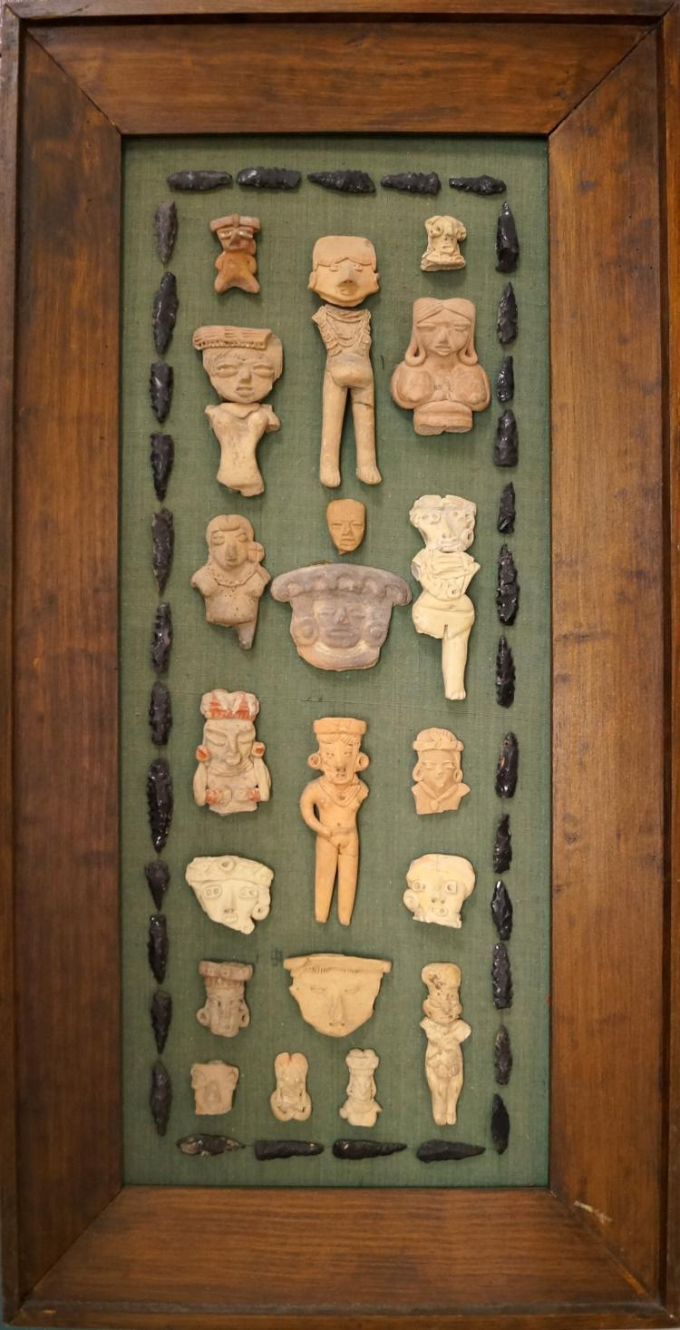 FRAMED COLLECTION PRE-CLASSIC (COLUMBUS) POTTERY FIGURES/ARROW HEAD. HEIGHT 29 1/2