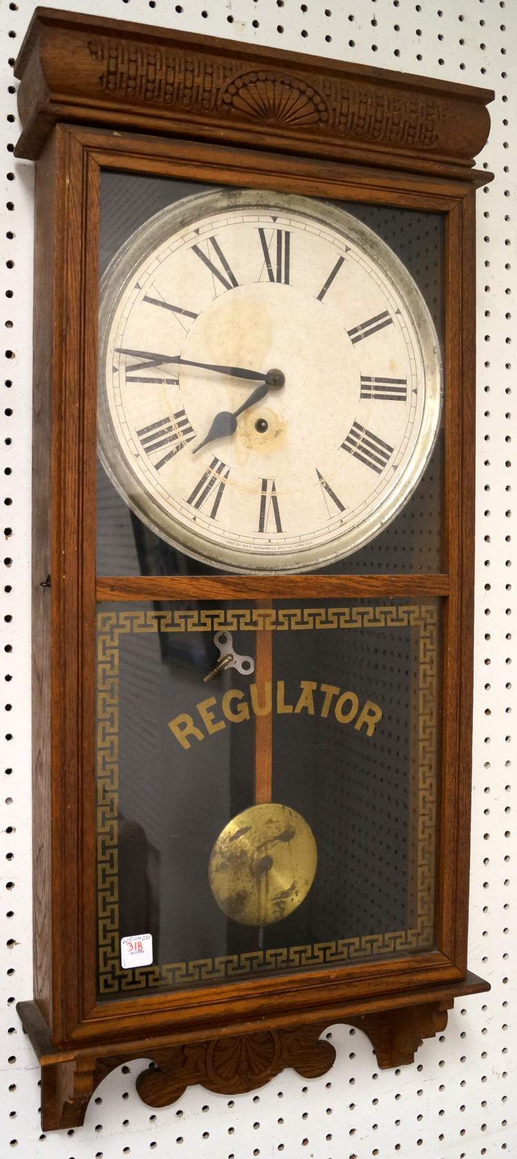 VINTAGE INGRAHAM OAK CASED REGULATOR WALL CLOCK. HEIGHT 37