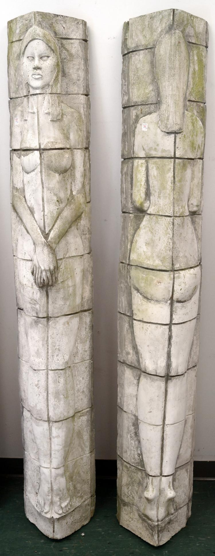 SURVING STUDIOS 2-PIECE CEMENT SCULPTURE, YIN