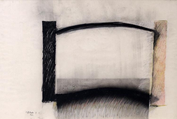 PAUL ROTTERDAM (AMERICAN/AUSTRIA B. 1939), MIXED MEDIA ON PAPER, ABSTRACT COMPOSITION, SIGNED AND DATED 1973. FRAMED AND GLAZED-26 X 40