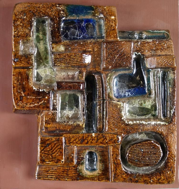 S.G. WEINRACH (AMERICAN 20TH CENTURY) GLAZED STONEWARE ABSTRACT PANEL (MOUNTED). 12 X 12