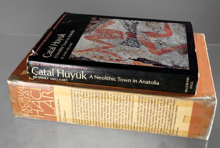 LOT (3) REFERENCE VOLUMES INCLUDING CATAL HUYUK: A NEOLITHIC TOWN IN ANTOKA, J. MELLAART, THAMES & HUDSON, 1967 (DJ); EXCAVATIONS AT HACILAR, J. MELLAART (2-VOLUME SET-SLIP COVERED); EDINBURGH UNIVERSITY PRESS, 1970 (DJ)