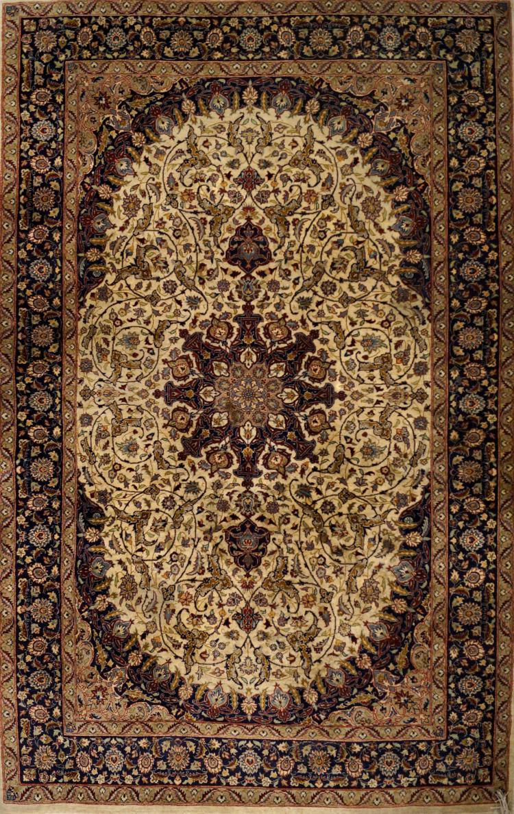 SEMI-ANTIQUE ISFAHAN DESIGN PERSIAN RUG. 4'8