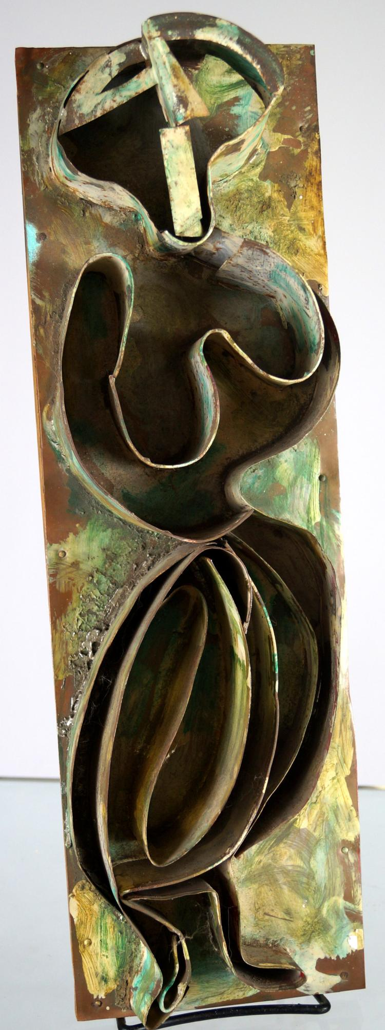 IRVING LEHMAN (AMERICAN/RUSSIAN 1900-1982), SCULPTURE, COPPER AND TIN MOUNTED ON WOOD, MODERN FIGURE, ARTIST LABEL VERSO. HEIGHT 19