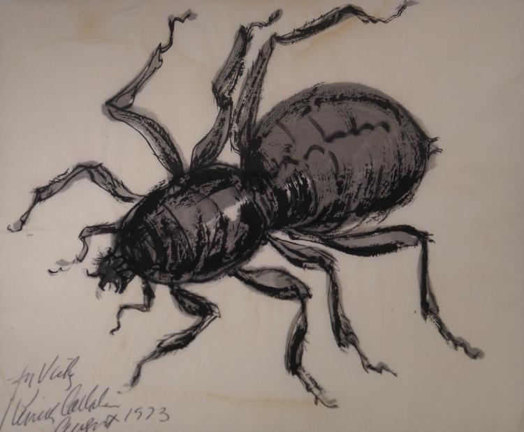 KENNETH CALLAHAN (AMERICAN 1905-1986), INK AND WATERCOLOR ON PAPER, THE SPIDER, SIGNED AND DATED 1973. SIGHT 9 X 10 1/2