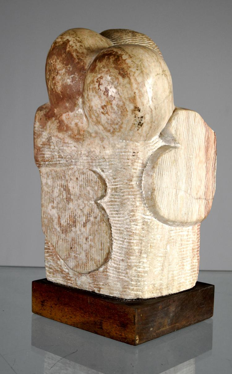 JUNE ROTH (AMERICAN/NY 20TH/21ST CENTURY), MARBLE, ABSTRACT MODERN FIGURES ON WOODEN BASE. HEIGHT 13