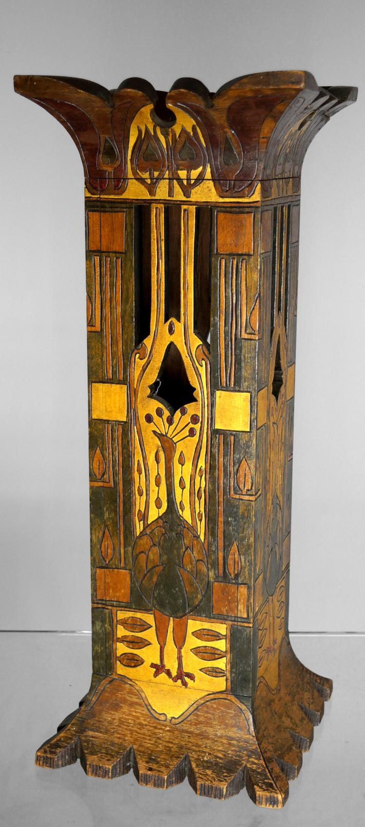 ART NOUVEAU CARVED AND POLYCHROMED WOOD UMBRELLA STAND. HEIGHT 28 1/2